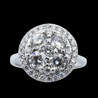 Collier pendentif  Diamant Poire Ancienne de 1,84 Cts M-SI1.