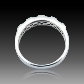 Bague en Or gris 18K avec 2 perles de culture 8,6 mm et Diamants. Taille 53.