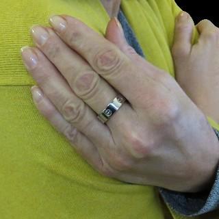 Demi Alliance or gris 18 carats avec 0,90 Cts de Diamants princesses et baguettes . Taille 54.