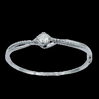 Bracelet en or gris 18 carats massif  Avec 5.0 Cts de Diamants
