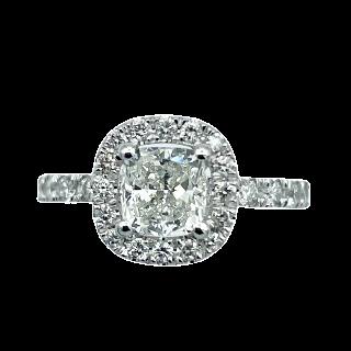 Parure Collier et Boucles Diamants brillants soit 14,02 Cts G-VS en Or gris 18k. 43 cm