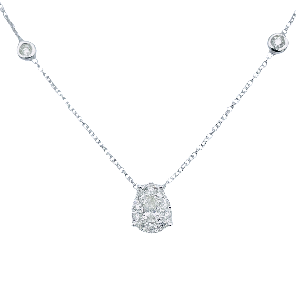 "Collier Pendentif  Chaumet Coeur ""Lien"" or gris 18k diamants vers 2000"