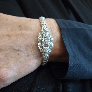 Bracelet Michele Morgan en Or Gris 18k massif vers 1970.