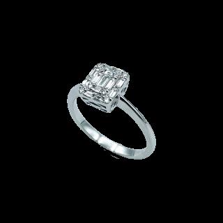 Bague vintage vers 1960 en Or 18K et Platine avec 0,50 Cts de Diamants