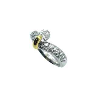Solitaire Diamant brillant 0,76 Cts I-VS2 en Or 18 Cts + 0.30 Cts.