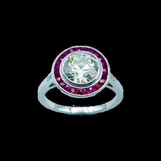 Bague  Solitaire en platine avec Diamant Brillant de 1,74 Cts M-VVS2 (LFG)