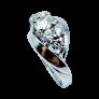 Bague en Or gris 18k  avec nacre et diamants . Taille 51.