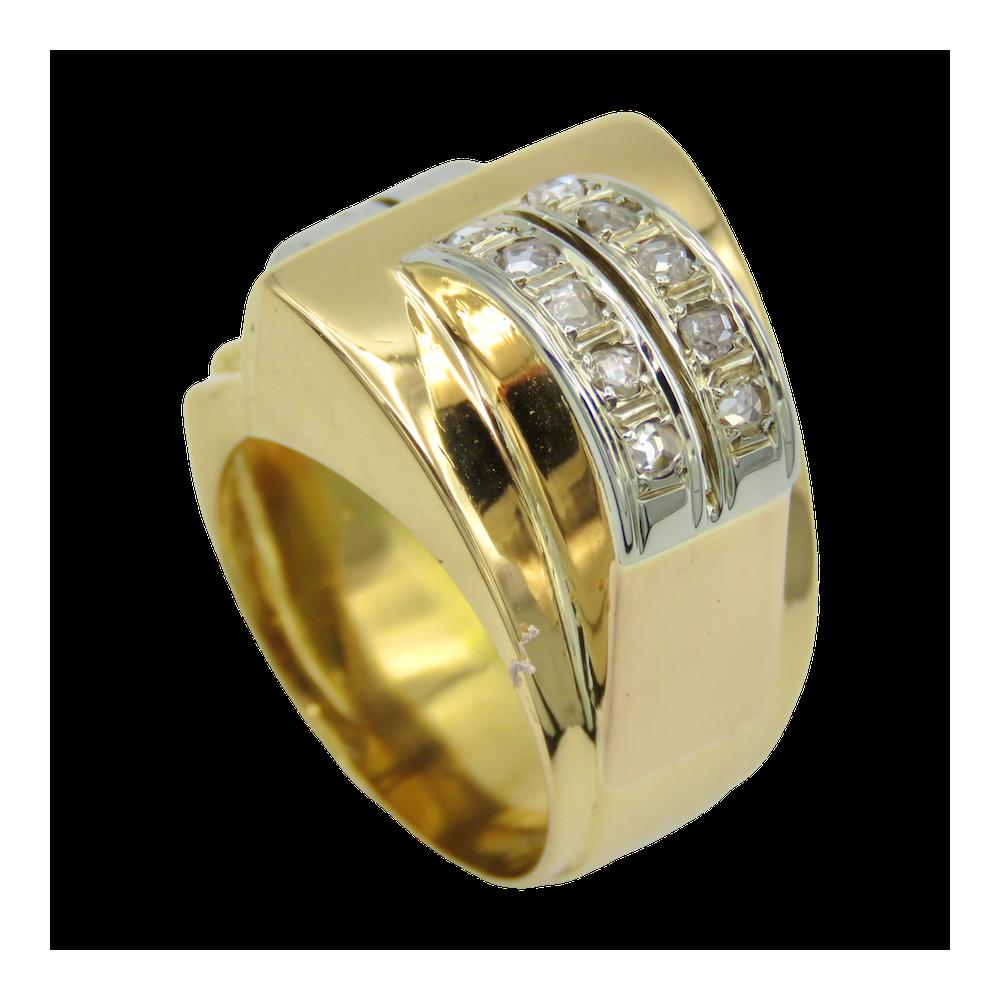 Bague Napoléon III en or 18k avec Diamants taille ancienne et roses.