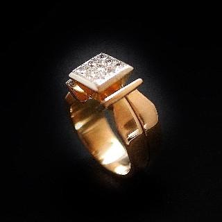 Solitaire Diamant 0.63Cts J-VVS2 en Or 18 Cts . Taille 52.