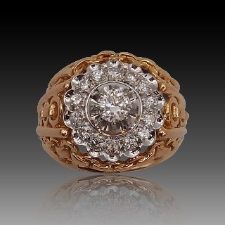 Bague Solitaire style Art Déco Diamant de 2.05 cts Cts K-VVS1 Or 18k.