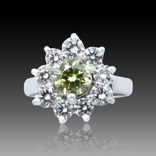 "Bague Garel ""TARA"" Or gris  18k et Diamants. Taille 52."