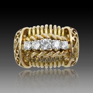 Alliance en Or gris 18 Cts avec 0.85 Cts Diamants Brillants G-VS Taille 52.