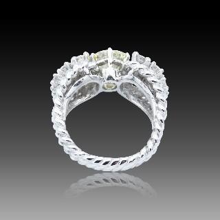 Puces d'oreilles Or gris 18k avec Diamants brillants 1.01 Cts et 1.11 Cts. H-VS1 & I-VS2.