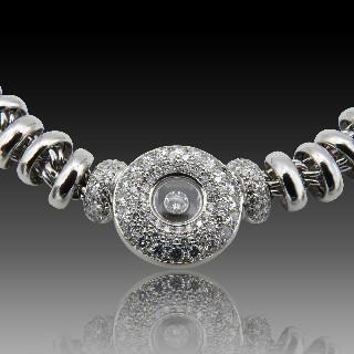 Bague Or Gris 18 Cts avec Saphirs fins et Diamants brillants.Taille 53.