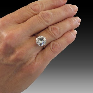 Solitaire en Or rose 18 Cts avec Diamant brillant 0.87 Cts G-SI1 + 0.16 Cts.