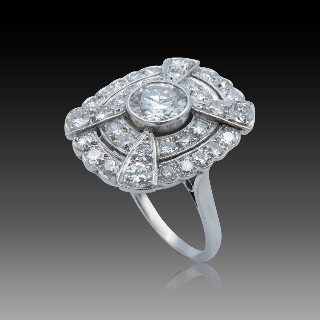 Solitaire Tiffany Platine, Diamant princesse 0,40 Ct H-VVS1 Vers 2005. Taille 47.