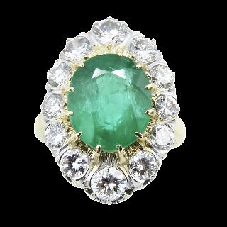 Collier pendentif en or 18 Cts et platine vers 1950  avec diamants .