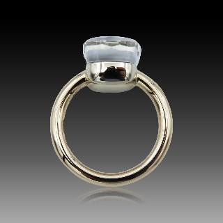 """Bague Mauboussin """"Couleur baiser"""" Or gris 18K Améthystes Diamants. Taille 53"""