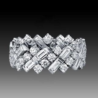 Demi alliance or jaune 18k avec saphirs et diamants Brillants H-VS. taille 50
