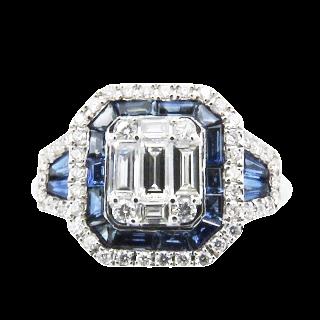 Solitaire en or gris 18k avec Diamant brillant 1.15 Cts G-VVS2