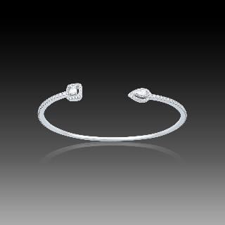 Pendentif en or gris 18k avec saphir fin et diamants brillants