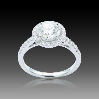 Solitaire en or gris 18k avec Diamant poire de 2,58 Ct. G/VVS2 (HRD)