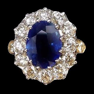 """Bague""""Pompadour"""" Or 18K, Saphir Ceylan Non Chauffé et Diamants"""