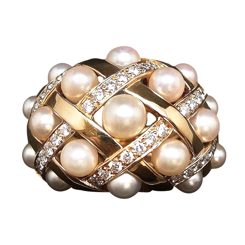 "Bague CHANEL collection ""Baroque"" Perles et diamants. Taille 53."