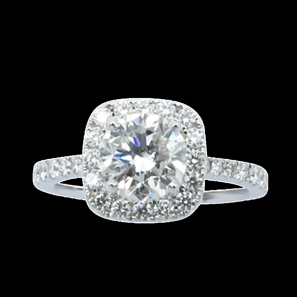 Solitaire en Or gris 18 Cts avec Diamant brillant 1,06 Cts D-VVS2 + 0,48 Cts