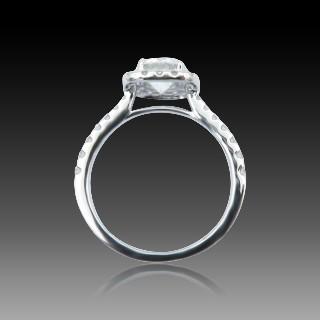 Solitaire en Or gris 18 Cts avec Diamant brillant 1,16 Cts E-VS2 + 0,48 Cts