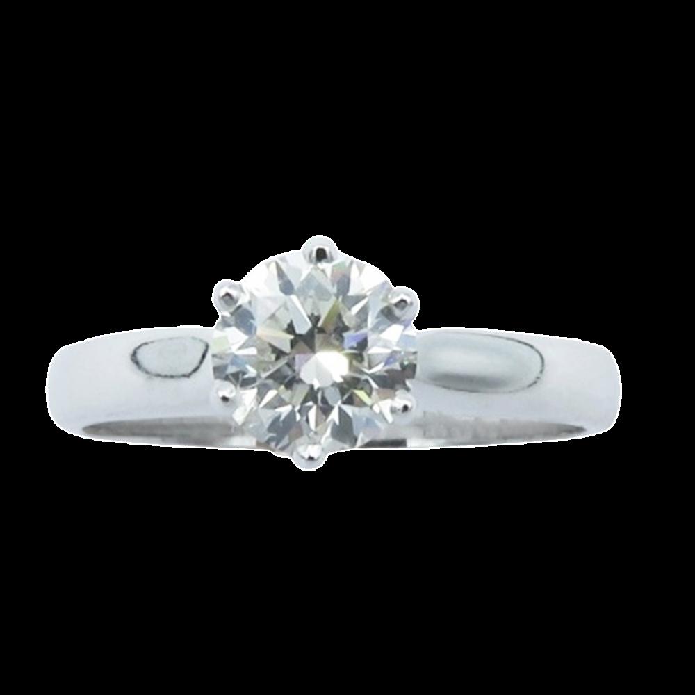 Solitaire en Or gris 18 Cts avec Diamant brillant 0.71 Cts G-SI1 (HRD)