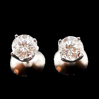 Puces d'oreilles Or gris 18k avec 2 Diamants brillants 0.48 Cts F-G et VVS1-PUR 10X.