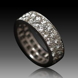 Alliance Double Rangs Or Gris 18k avec 3,51 Cts de Diamants G-VS. Taille 53