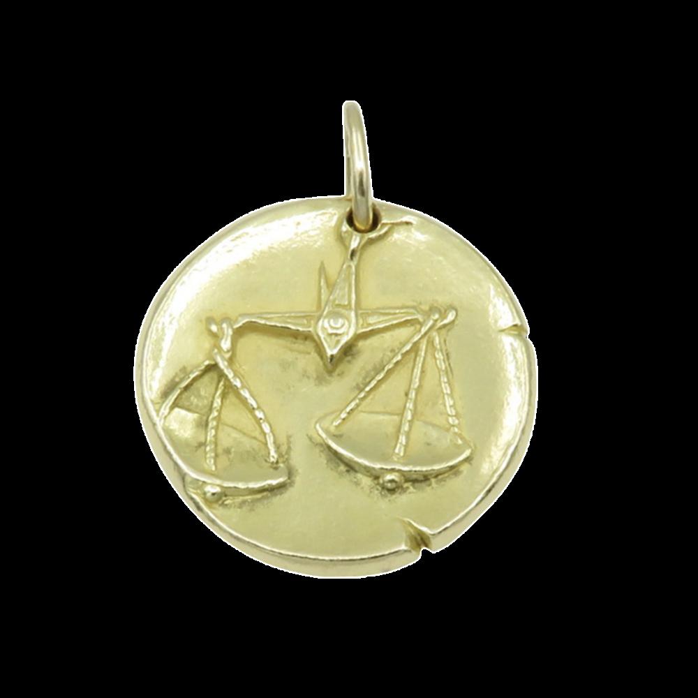 """Médaille Zodiaque Van Cleef & Arpels """"Balance"""" en Or jaune 18k massif vers 1970."""
