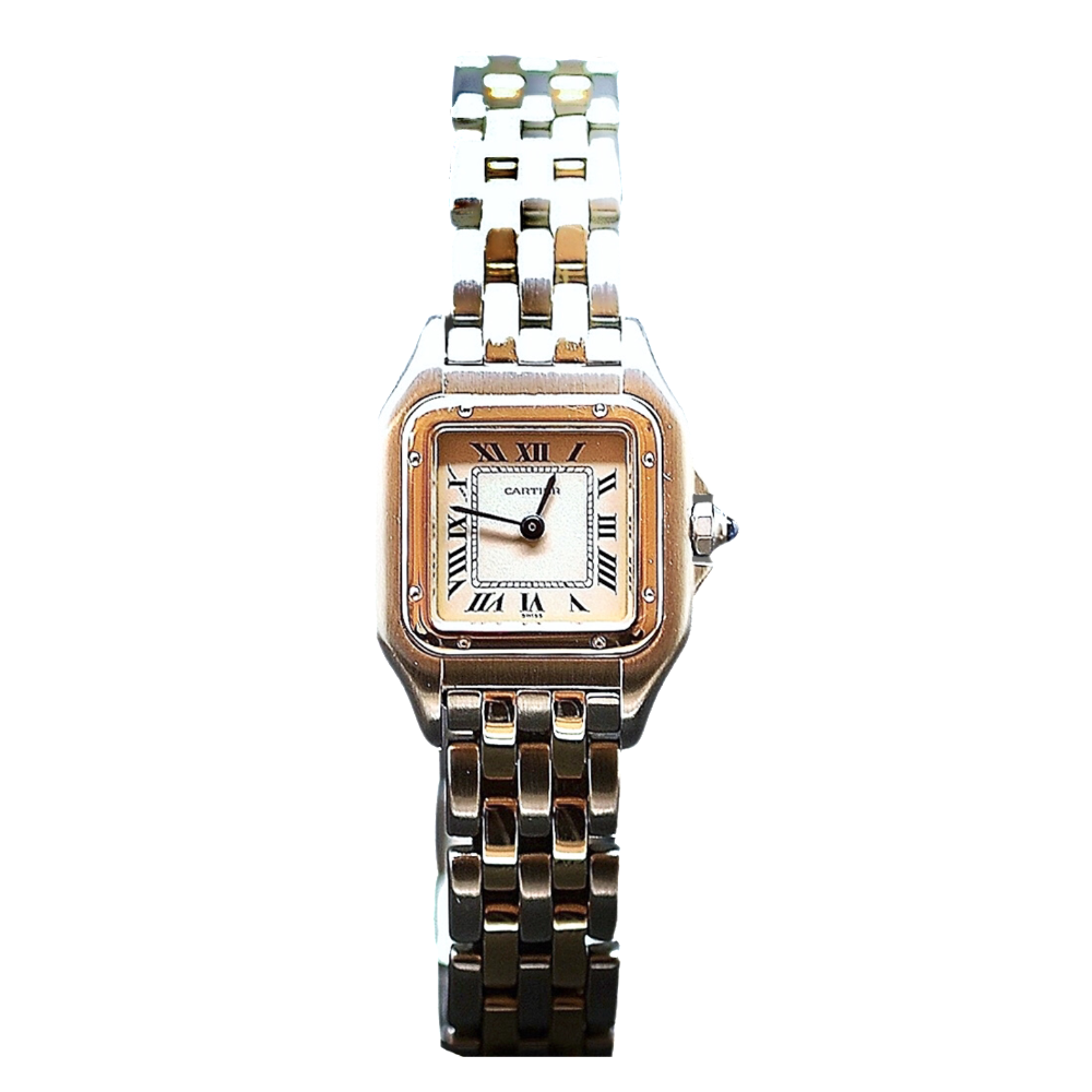 """Montre Cartier dame """"Panthère"""" Or 18k 2 rangs et acier quartz Vers 1996."""
