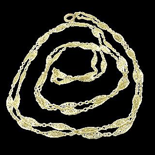Sautoir en or jaune 18k vers 1900 de 150 cm.  Poids : 39,0 grs