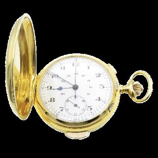 Montre Gousset Or jaune 18k Répétitions des Quarts et Chronographe.