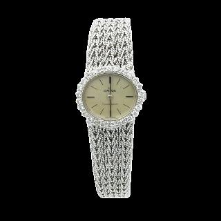 Montre Dame Omega en or gris 18k avec diamants mécanique Vers 1970