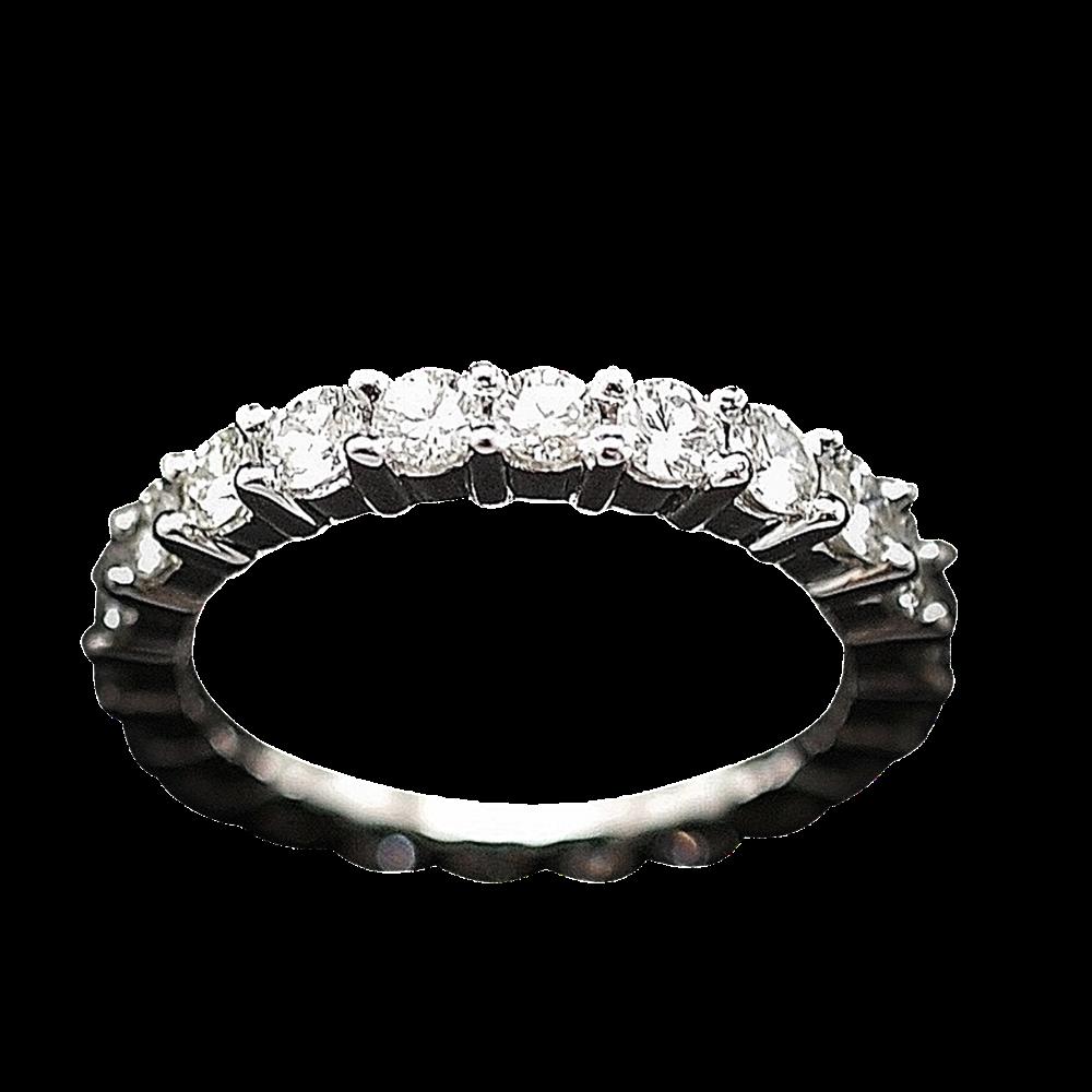 Alliance or gris 18k avec 2.32 Cts de Diamants Brillants G-VS. Taille 53.