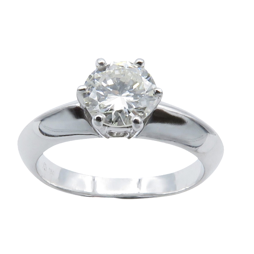 Solitaire Diamant 0,89 Cts H-SI2 en Or 18 Cts . Taille 52.
