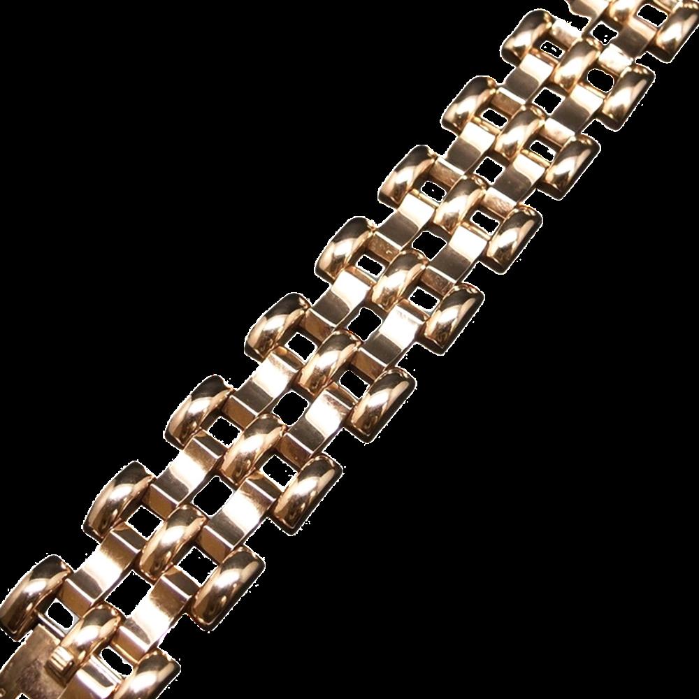 Bracelet Tank vers 1940 en or 18 carats. Poids : 62.70 Grs