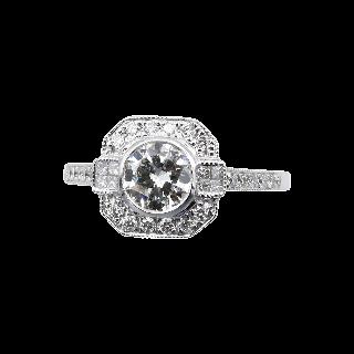 Bague Solitaire Or gris 18k Diamant 0,56 Cts F-VVS1 HRD + Diamants brillants