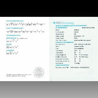 Bague Solitaire Or gris 18k Diamant 0,56 Cts F-VVS1 -HRD + Diamants brillants