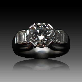 Solitaire en platine avec Diamant brillant 2.06 Cts qualité I-SI2 .