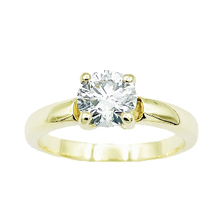 Solitaire Bucherer or jaune 18K avec Diamant 0,97 Cts E-VS1 (GIA)  de 2009. Taille 53-54.