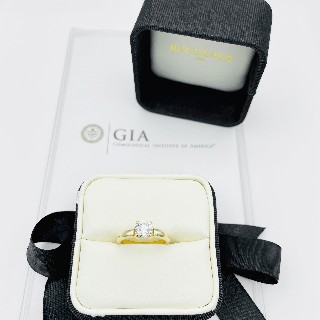 Solitaire Bucherer or jaune 18K avec Diamant 0,97 Cts E-VS1 (GIA)  de 2009. Taille 55-56.