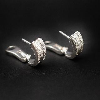 Boucles d'oreilles Diamants 0.80 Cts G-VS en Or Gris 18k