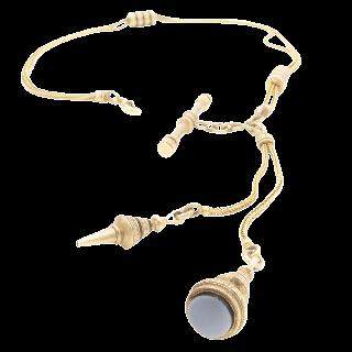 Chaine giletiere en or 18k vers 1870 , ciselée et émaillée