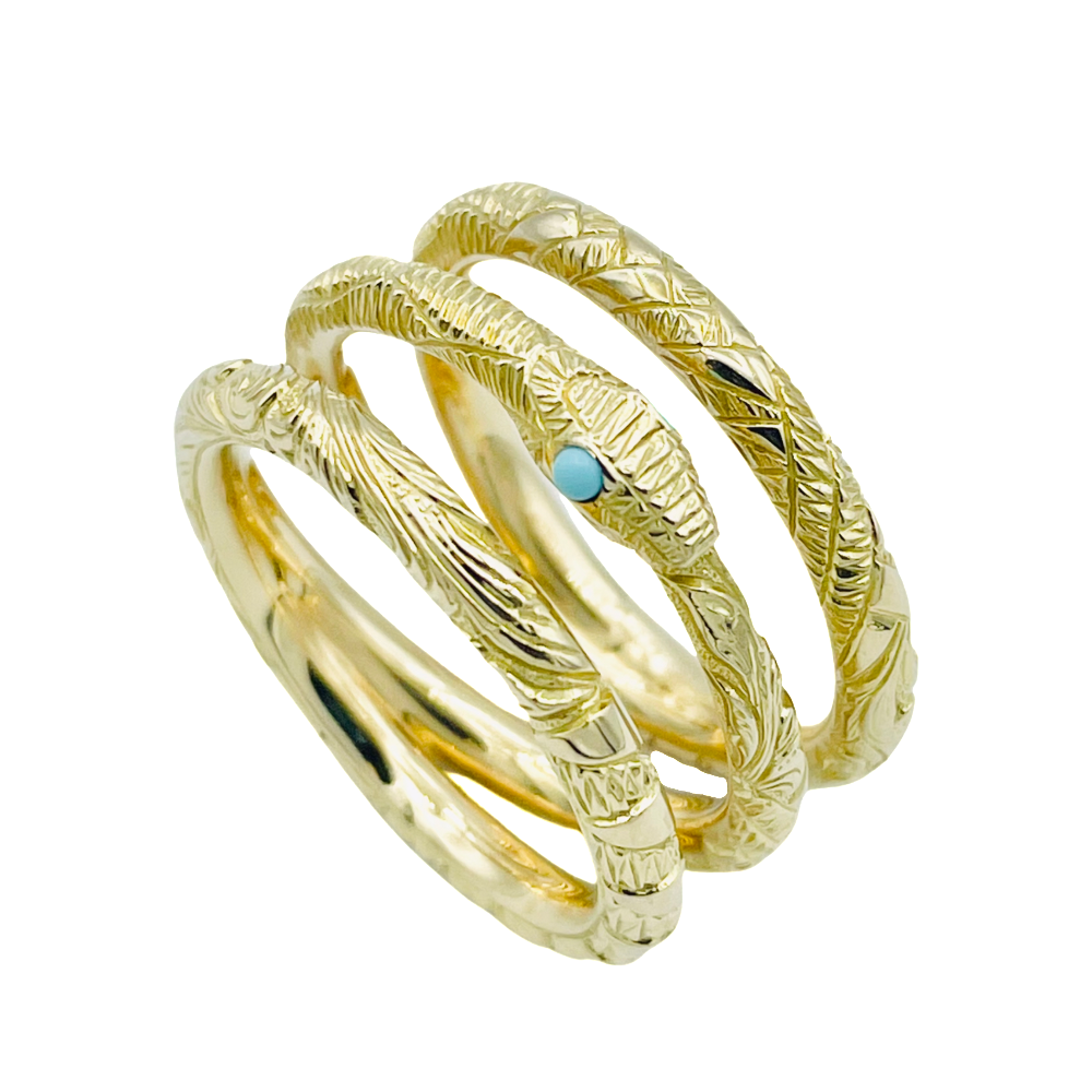"""Bague GUCCI """"Ouroboros"""" trois anneaux Turquoises. Taille 53 . Prix neuf : 2950€"""