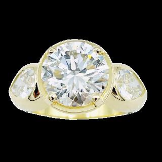 Solitaire en Or jaune 18k avec Diamant de 3,19 Cts G-VS2 (HRD) .Taille 50.